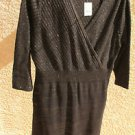 Lane Bryant Sweater Dress 14 16 Black Gold Career 3/4 Sleeves New w Tags