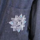 Florissant Size L Large Black Jean Shirt Long Sleeves Embroidered Zuni Motif EUC