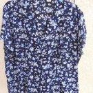 Covington Woman Plus Size 26W Shirt Top Career Navy Blue Floral Short Slv New