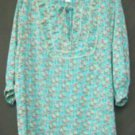 JH Collectibles 2X Plus Aqua Orange White Blouse Top Sheer Polyester New NWOT