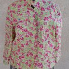 Christopher & Banks Jacket Large L Green Pink Yellow Floral Long Sleeves EUC