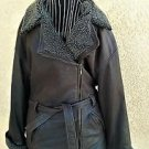 Genuine Leather Coat Size M Brown Jacket Zip Front Belt Faux Fur Gently Used