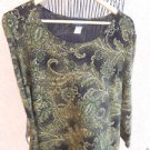 Brittany Black 2X Blouse Black Green Gold Floral Paisley Stretchy Used Excellent