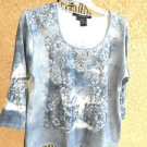 Michelle Nicole S Stretch Knit Top Floral Denim Blue Beaded Embellished New NWT