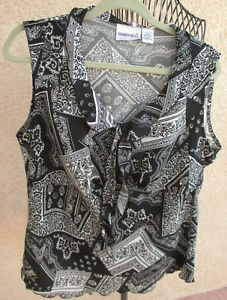 Fashion Bug Tank Top XL Black White Floral Print Long Ties Sleeveless Career New