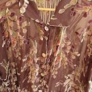 Floral Blouse 1X Burned Out Velvet Flowers Top Taupe Green Rust Gently Used
