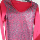 Coldwater Creek M Red Knit Top Medium Black Sequins Blouse Long Sleeves New