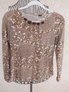 Size Medium Paisley Floral Top Long Sleeves Blouse Ivory Brown New Without Tags