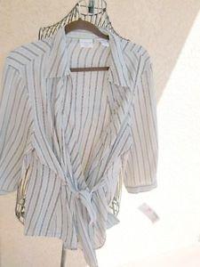 Covington Woman Plus Size 22W Shirt Top Career Wrap Style Long Sleeve New w Tags