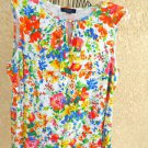 Chaps Blouse Size 2X Top Red Bue White Floral Sleeveless Soft Knit Top Used Good