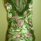Pink Green Silk Blouse Top Size S Small Misses Jaloux Zalou Side Zipper New