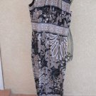 Olivia Matthews Dress 8 Sleeveless Black Beige Floral Maxi Slinky New NWOT