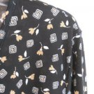 ABR 3X Blouse Stretch Knit Floral & Geometric 3/4 Sleeves Top Black Yellow EUC