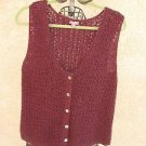 J. Jill Sweater Vest XL Extra Large Crochet Eggplant Purple Career Cotton New