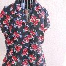 Jones New York 10 Shirt Short Sleeves Silk Blue Red White Floral Flowers EUC