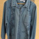 Cascade Blue Jean Shirt 2X Roses Flower Embroidery Long Sleeves New NWOT