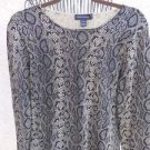 Cable & Gauge M Medium Sweater Snake Print Black Brown Silk Rayon Thin New NWOT