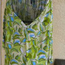 MIX IT 3X Plus Blouse Tunic Top Floral Geen Blue White Olive Floral New NWOT