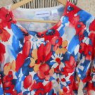 Alfred Dunner Pullover Sweater Size Large Red Blue White Floral Career Beads New