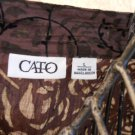 CATO L Top Shirt Misses Large Brown Black Velvet Flowers Excllent Used EUC