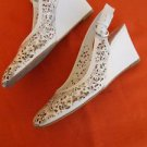 BCBG Sandals 10 B Perforated Off White Floral Cut Out Gen Leather Shoes Wedges