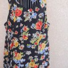 Coldwater Creek Dress 24W Black Multi Color Floral Print Tank Great Preowned EUC