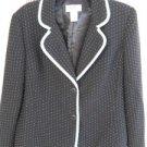 Bob Mackie 12 Blazer Black Aqua Polka Dots Piping Polyester Elegant New NWOT