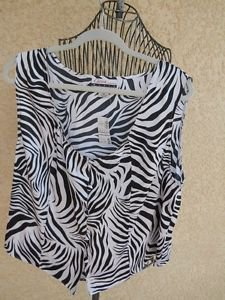 Diana Marco Plus Size 2X Tank Top Career Zebra Stripes Polyester Work New w Tags