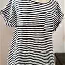 Merona XXL Top Stretch Soft Knit Thick Cotton Striped Navy White Short Sleeve