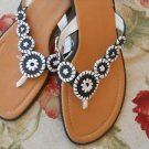 Montego Bay Sandals 9.5 M Thongs Shoes Black White Flowers New Condition No Box