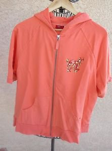 Tapemeasure 1X Coral Hoodie Top Rhinestone Butterfly 3/4 Sleeves Gently Used