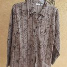 Cato 18 20 1X Shirt Brown Taupe Cinnamon Raised Velvet Floral Top New w/out tags