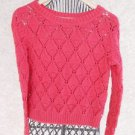Tommy Hilfiger Sweater S P Crochet Style Knit Berry Red Long Sleeve Cotton New