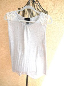 Cynthia Rowley Tank Top XL Lace Embellished Gray Heather Rayon Blend New w Tag