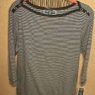 Karen Scott XL Blouse Soft Stretch Knit Striped Career Navy White Top New w Tags