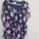JBS Dress 24W Floral Black Pink Flowers Ruffled Skirt Top Exclnt Used Condition