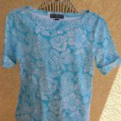 Karen Scott PS Blouse Stretch Knit Floral Short Sleeves Top Mint White New NWT