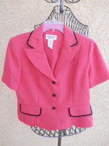Studio I Petite 12P Blazer Long Sleeves Pink Black Lace Trim Buttons New NWT