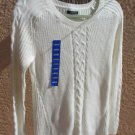 Nautica Sweater L Large White Career Cotton Cable Knit Accents Long Sleeves New