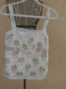 GAP Large L Silk ank Top Floral Taupe Cream Ribbon Lace Trimmed New NWOT