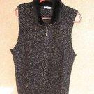 Charter Club Sweater Vest 2X Black Heather Faux Fur Collar Zipper Front Warm New