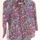 CHAPS Ralph Lauren Petite XL Shirt PXL Top Burgundy Floral 3/4 Sleeves Used EUC