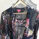 ELLE 3X Floral Long Sleeves Sheer Top Open Front Belted Plus Career New with Tag
