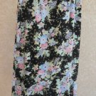Sag Harbor Skirt Size 10 Floral Rufled Black Beige Pink Mint Flowers Long Used