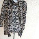 Animal Print Soft Blazer Size 2X Black Cinnamon Zebra Sripes Excellent Used