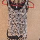 Xhilaration Tank Top XS Gray White Floral Lace Sleeveless Career Lace Trim New