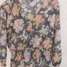 CHAPS Ralph Lauren Blouse M Brown Pink Floral Sheer Flowers Smocked Waist New