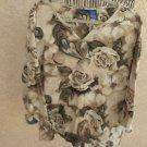 Basic Edition 3X Top Plus Size Brown Beige Blouse Knit Top Studded Floral Used