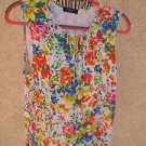 Chaps Blouse Size M Top Red Bue White Floral Sleeveless Soft Knit Top Used Good