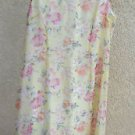 White Stag Yellow Dress 12 Pink Flower Roses Polyester Lined Sleeveless Exc Used